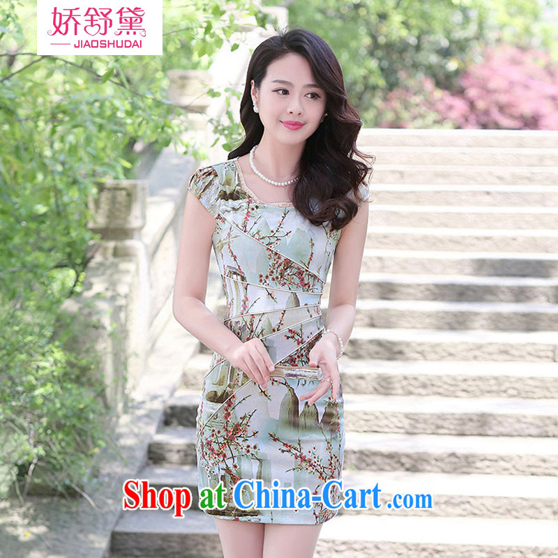 Air Shu Diane 2015 summer new cheongsam dress girls improved daily packages and short-sleeved beauty stamp dress M landscape