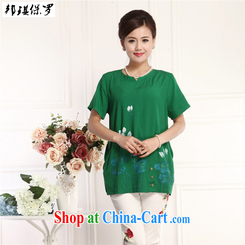 Bong-ki Paul 2015 new, older women summer retro style National wind in long cotton the Chinese Chinese style mother short-sleeved stamp T-shirt green 4XL
