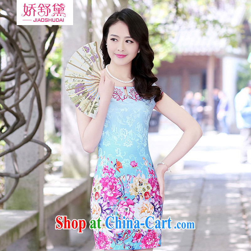 Air Shu Diane 2015 summer new retro improved cheongsam dress fashion beauty style cheongsam dress girls dresses blue Peony XXL
