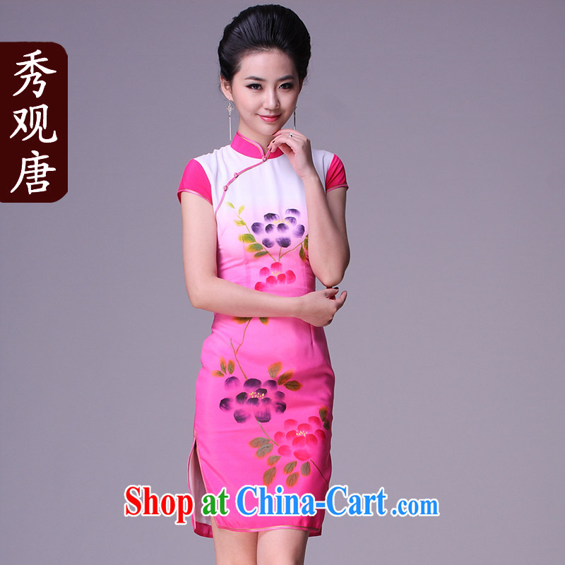 The CYD HO Kwun Tong' were spent �� stylish improved cheongsam/Summer 2015 new hand-painted daily cheongsam dress retro rose red M