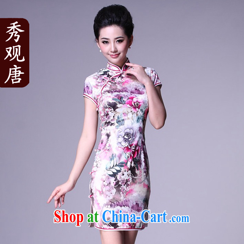 Cyd Ho Kwun tong meng tianjiao stylish improved cheongsam 2015 summer retro female sexy cheongsam dress G 81,135 blue S