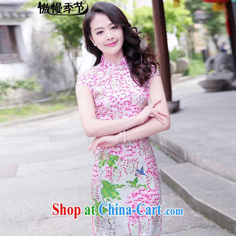 Arrogant season 2015 summer new Korean Beauty graphics thin antique stamp duty, Ms. cheongsam dress dresses girls of saffron XXL