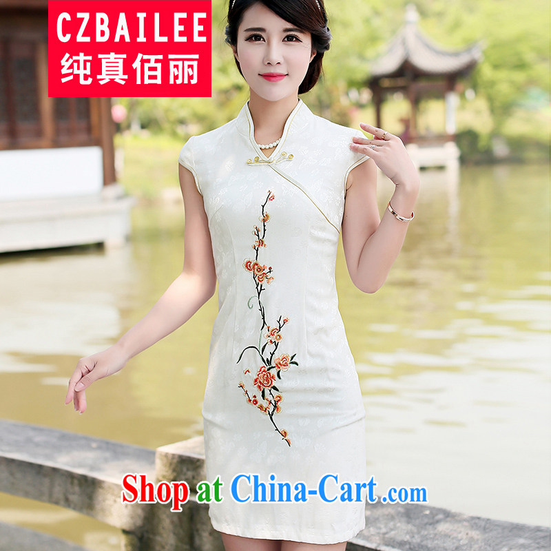 Jin Bai Lai 2015 new summer high-end dresses skirts improved retro style dress short-sleeve embroidery Chinese Dress 4 XL