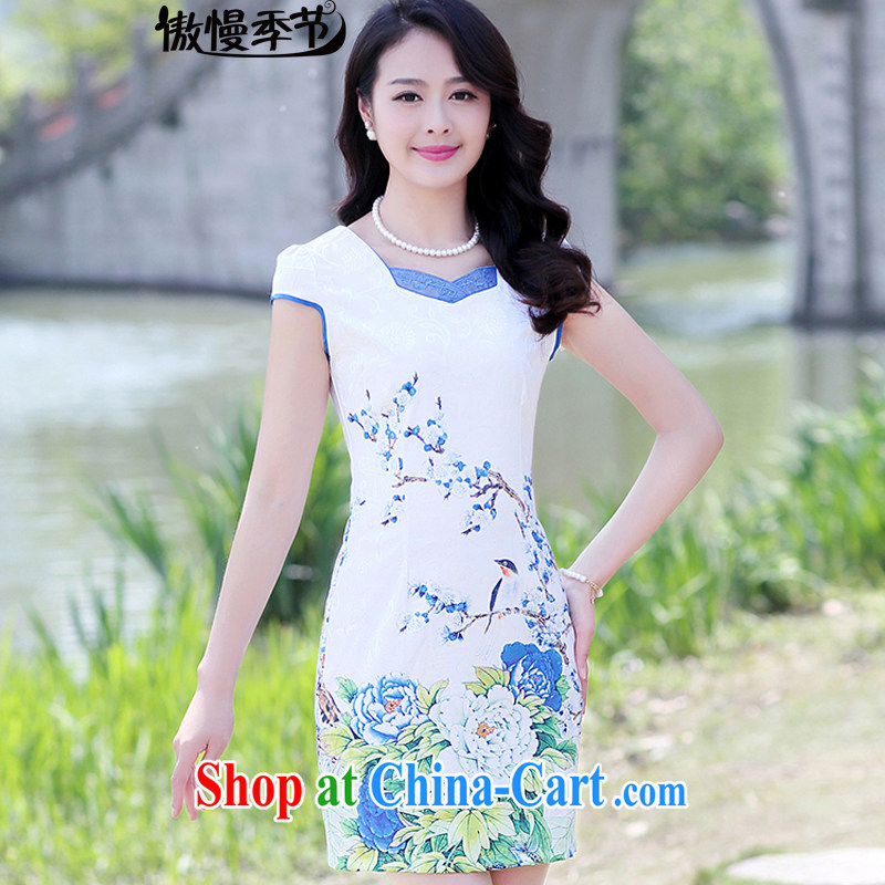 Arrogant season 2015 new summer short-sleeved beauty charm retro stamp outfit package and skirt dresses girls light blue Peony XXXL