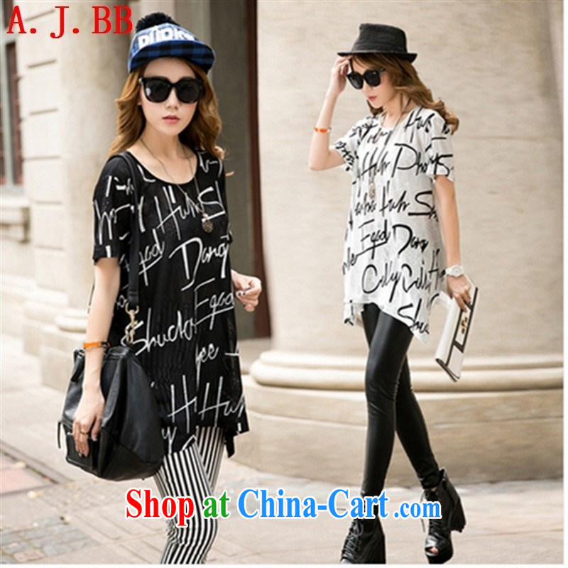 Black butterfly 2015 summer new, large, female character long leisure loose stamp short sleeve shirt T black 6171 XXL