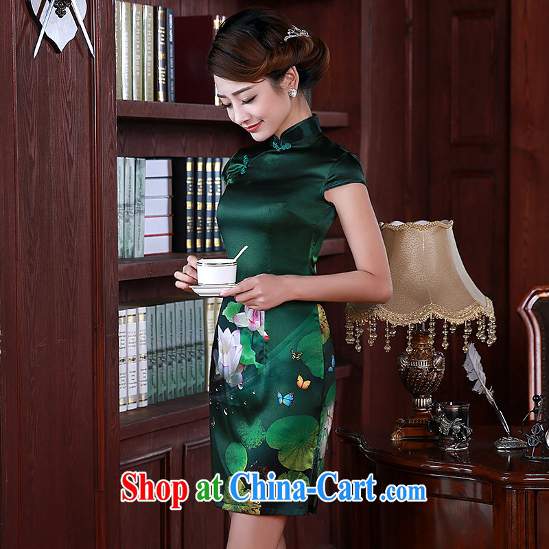 cheongsam dress spring 2015 new improved stylish MOM silk sauna silk short cheongsam Q 1055 green XXL