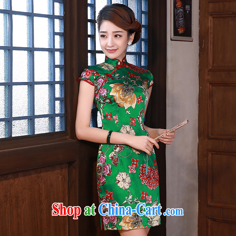 Dresses summer 2015 improved stylish short-sleeve short daily sauna Silk Cheongsam dress Q 1056 green XXL