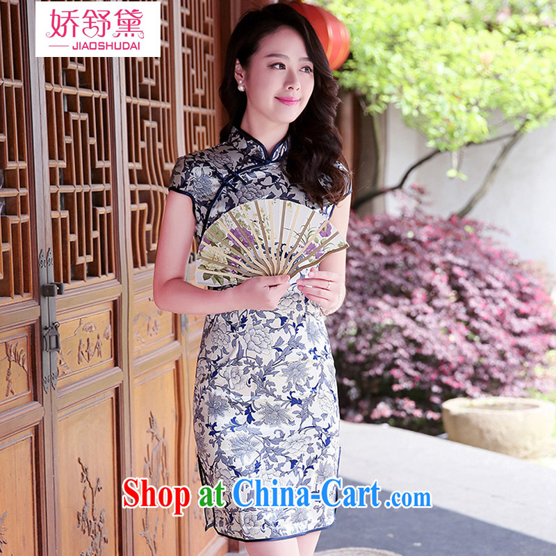 L'Occitane aviation Diane 2015 summer new Korean version antique Chinese Ethnic Wind to take a short-sleeved dresses beauty dresses girls and white porcelain XXL