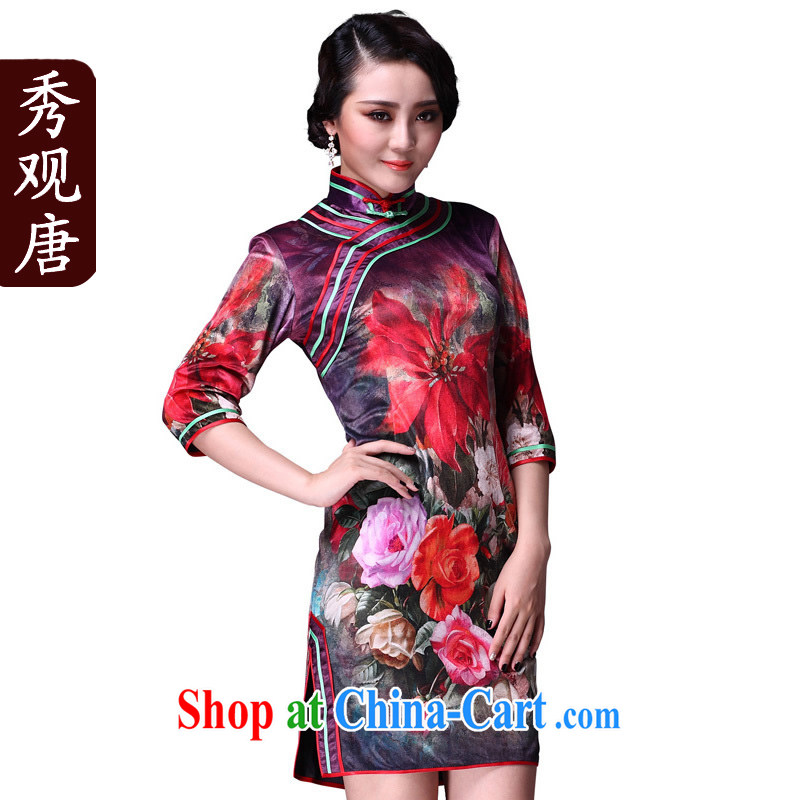 Cyd Ho Kwun Tong tricks mood classical videos cheongsam/fall in with improved cuff antique velvet cheongsam dress/G 92,119 picture color XXXL