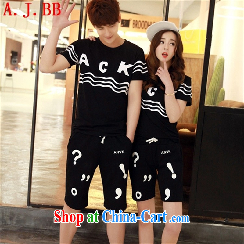 Black butterfly 2015 Korean fashion lovers with stamp duty short-sleeved T-shirt women beach shorts men and women, couples with black summer 6187 XXL