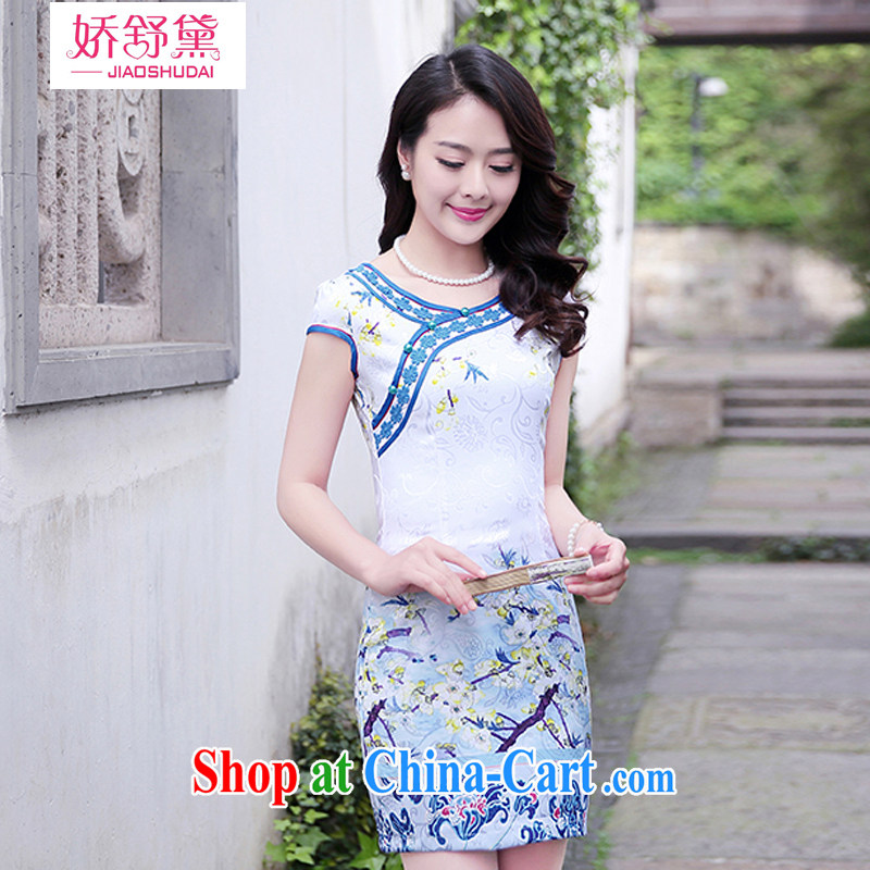 Air Shu Diane 2015 summer new elegant dresses daily improved blue and white porcelain cheongsam dress with stamp duty, as well as female blue plum XXL