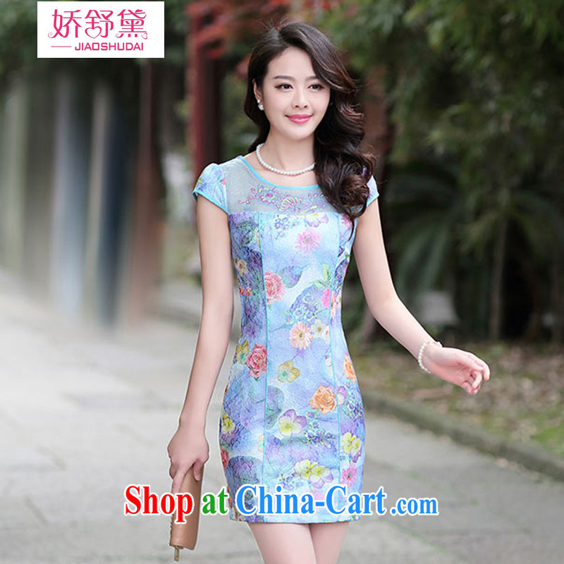 Air Shu Diane 2015 summer dresses new Chinese female improved graphics thin, qipao dresses girls 02 blue rose L