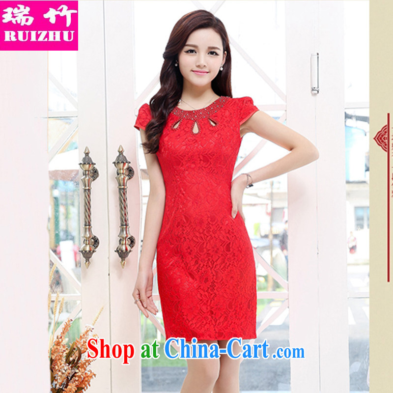 Shui bamboo 2015 Spring Summer and Autumn new retro full-lace round-collar inserts drill beauty package and qipao gown skirts chest Openwork graphics thin further dresses bridal toast red XXL