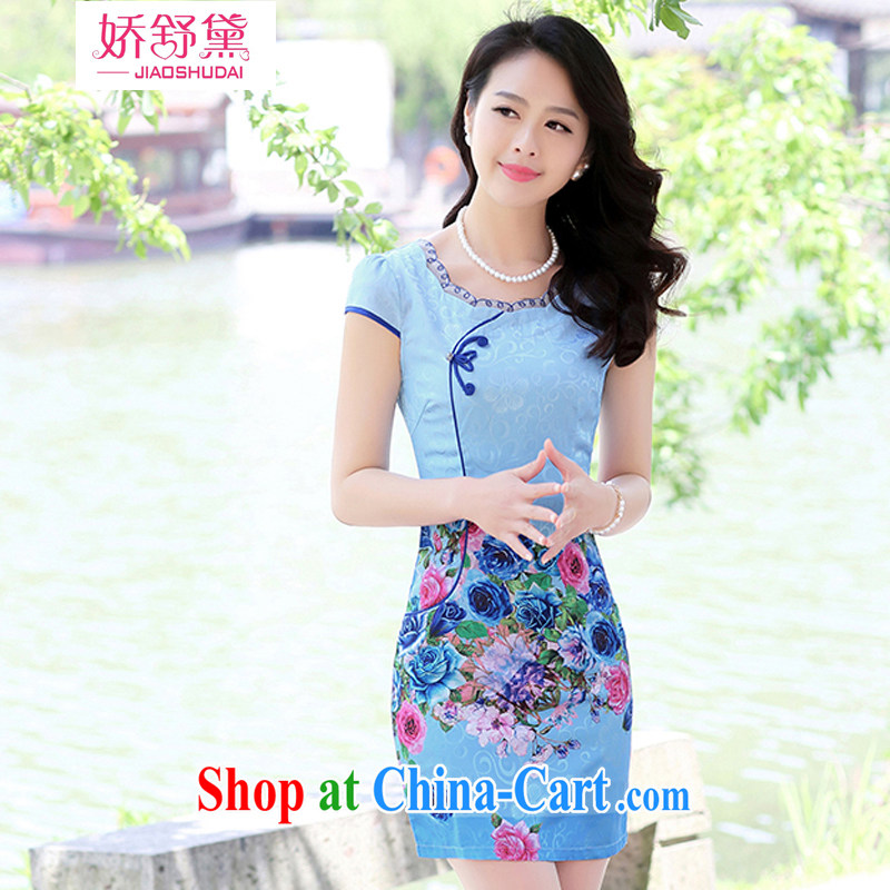 Air Shu Diane 2015 summer new to spend cultivating dresses stamp short sleeve package and further dress cheongsam dress female blue roses XL
