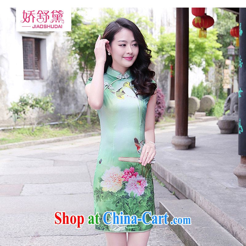 Air Shu Diane 2015 summer new Korean antique Chinese Ethnic Wind jacquard short-sleeved cultivating cheongsam dress girl peony flowers L
