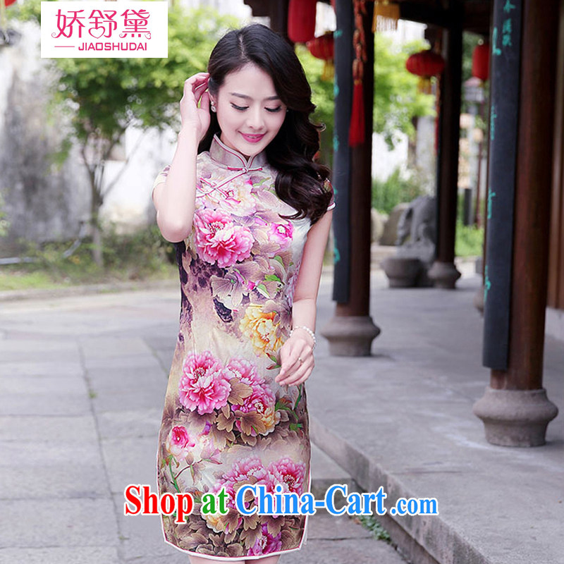 2015 summer New Beauty lady retro country color day Hong Kong Peony stamp tray snaps sauna silk Silk Cheongsam dress pink Peony XXL