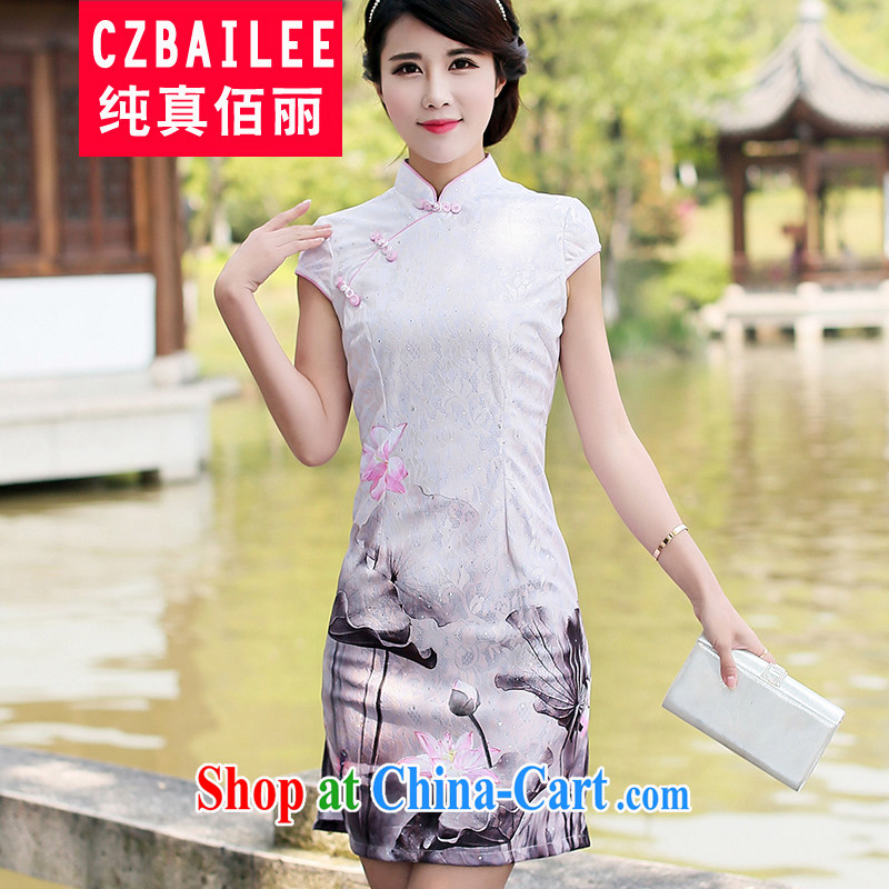 Jin Bai Lai stamp cheongsam dress beauty graphics thin daily retro dresses and stylish high-end dress 2015 summer short-sleeve Chinese qipao 4 XL