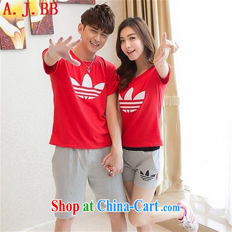 Black butterfly 2015 Korean couples with sport and leisure couples T shirts beach shorts couple short-sleeve shirt T summer White Dress + Gray trousers 6186 male XXL