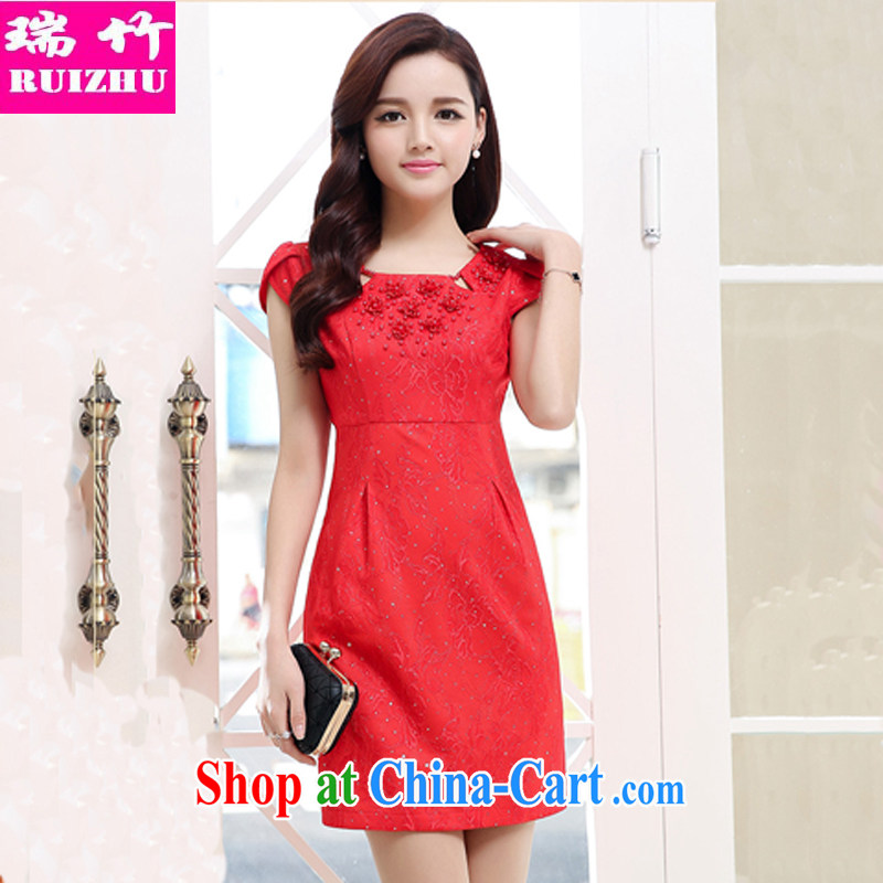 Shui bamboo 2015 Spring Summer Fall with new large red nails Pearl sleeveless beauty graphics thin dresses cheongsam dress petal cuff waist high Korean lace further short skirts show red XXL