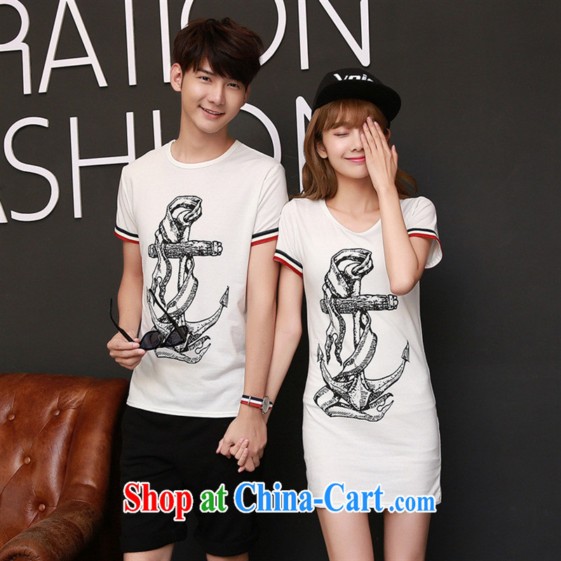 2015 new Korean girls summer decoration, the short-sleeved shirt T couples women dress collection cyan S female