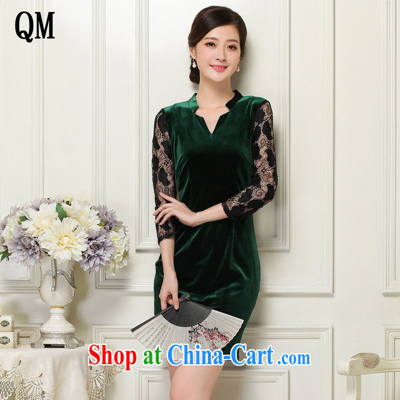 Shallow end female velvet cheongsam beauty Deep V collared 7 cuff antique dresses JT 1060 dark XL