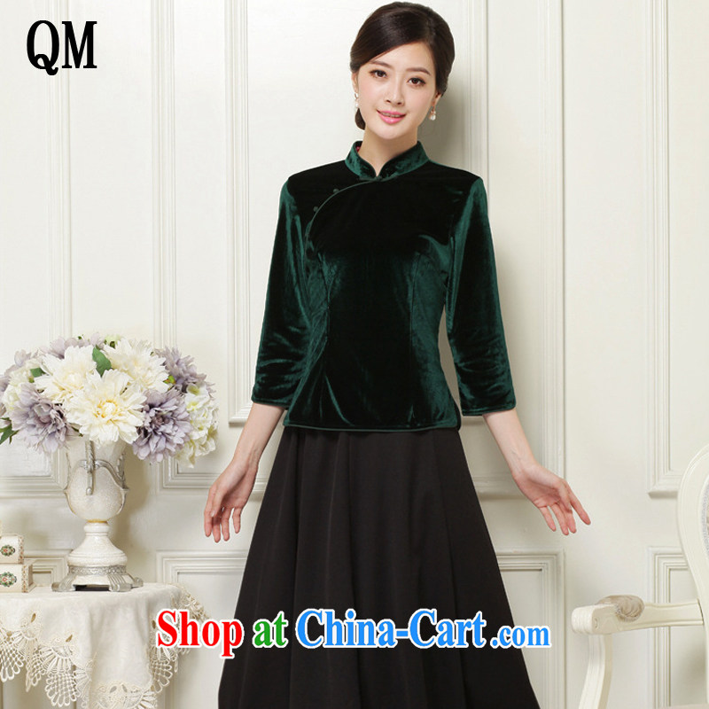 light at the velvet cheongsam style 7 cuffs and collar Chinese qipao JT 1061 dark L