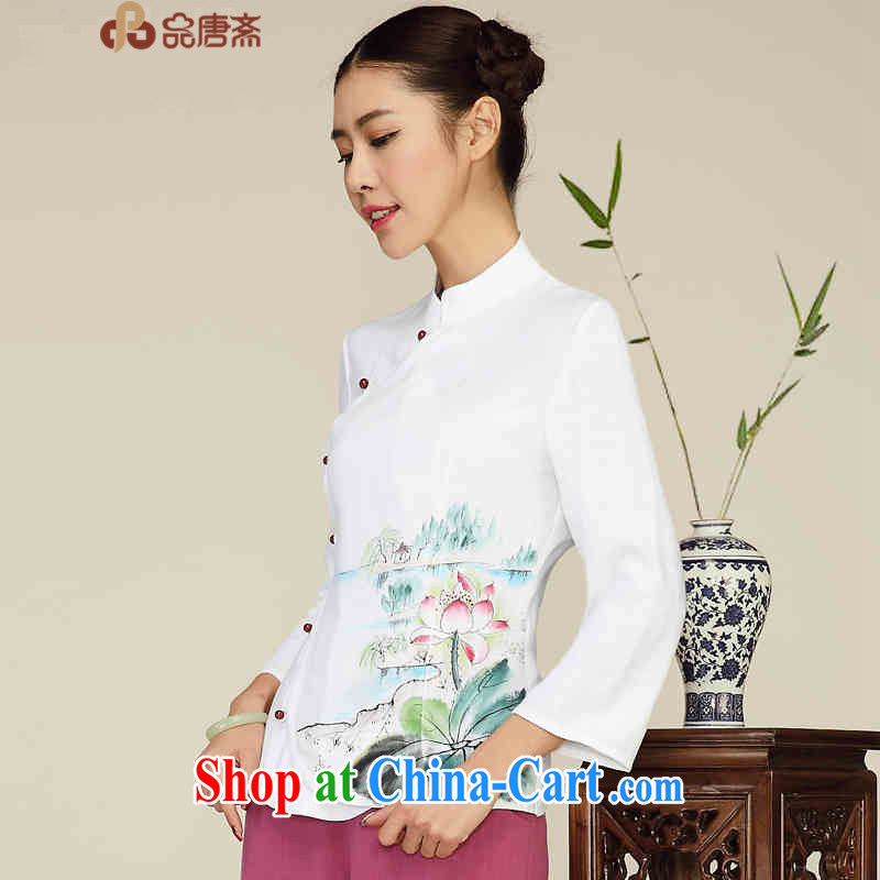 Mr Tang, Id al-Fitr Chinese improved Chinese blouses cotton Ma ethnic wind Long-Sleeve Han-retro dresses T-shirt pre-sale April 30 white XL