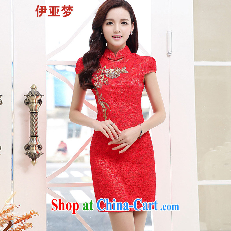 The dream in the summer Women's clothes retro classic Lace Embroidery Chinese qipao Short package and further skirt dresses female Red XXL