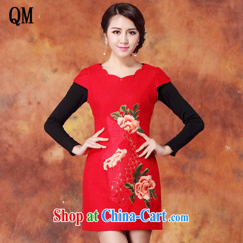 Shallow end embroidered wool? Short cheongsam red short cheongsam JT 1086 red XXL