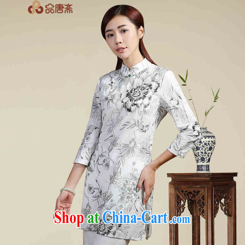 Mr Henry Tang, Id al-Fitr improved cheongsam shirt, 2015 new spring and summer clothing, Ethnic Wind cotton the female white XL