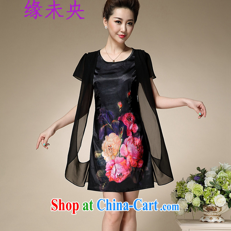 The central bank is not summer 2015 older XL mother false Two stamp Silk Dresses female T C 515 8992 black 4XL, edge is not central, shopping on the Internet