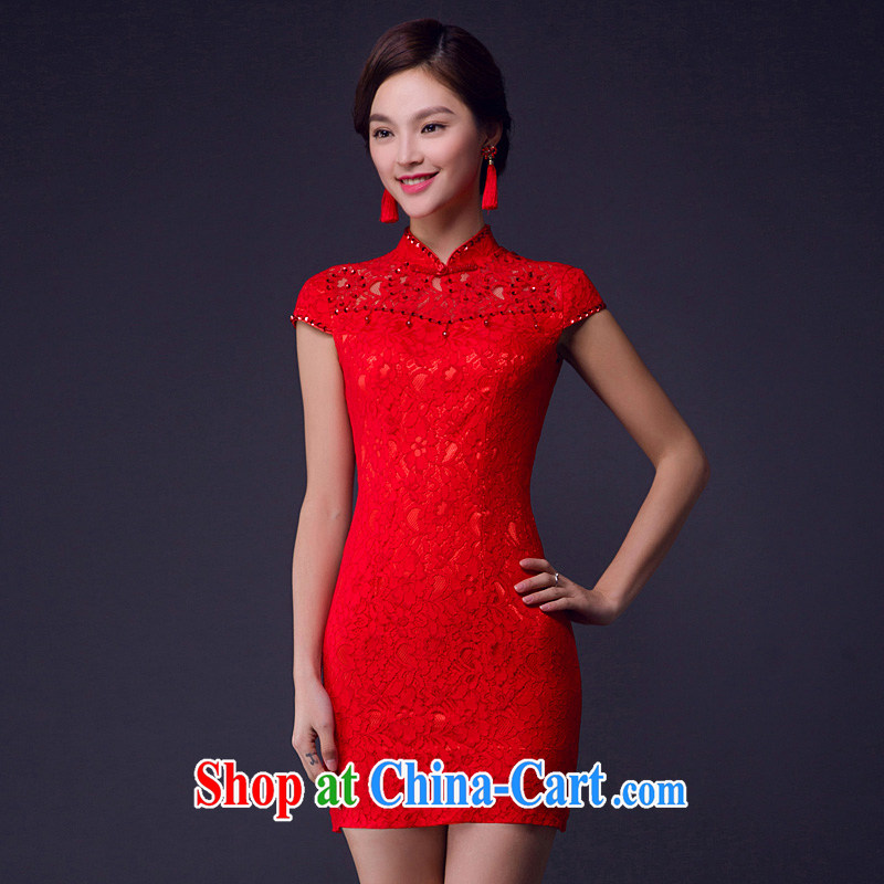 2015 new dresses spring and summer short, new wedding toast clothing lace Openwork breathable red wedding dress red XL