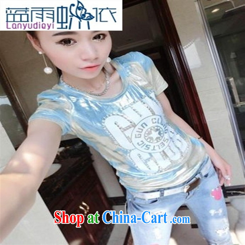 Ya-ting store 2015 new spring European site trendy camouflage hot drill letter short-sleeved shirt T blue are code
