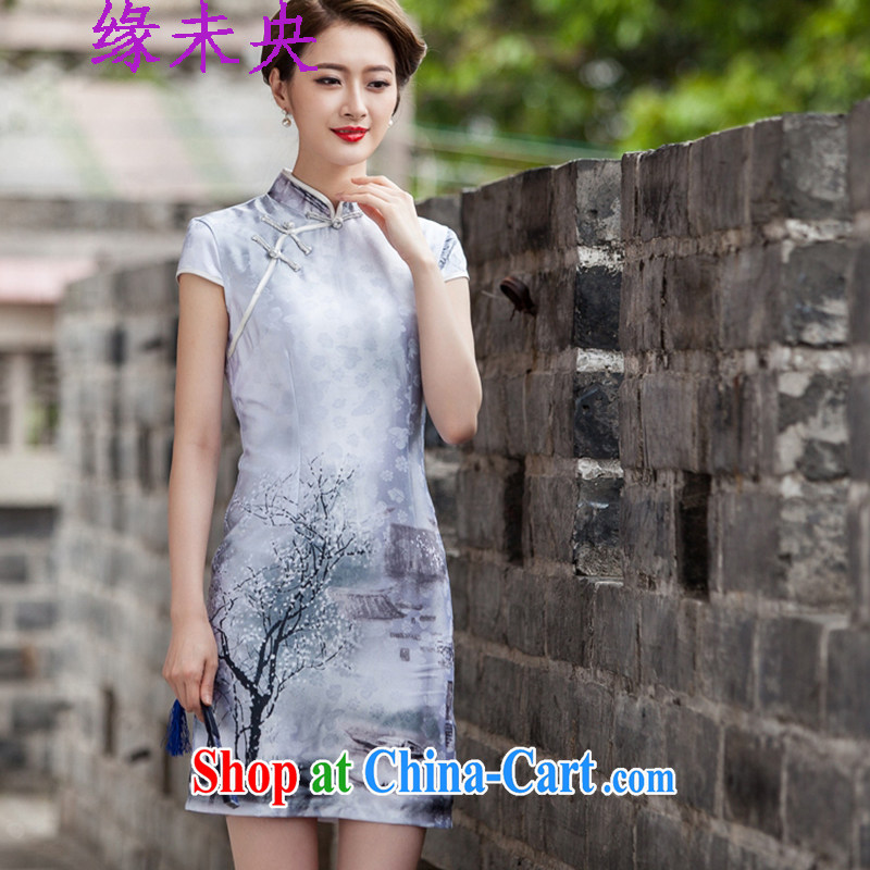 The unfinished summer 2015 new women paintings with short sleeves cheongsam dress retro fashion China wind cheongsam C C 518 1107 painting XL