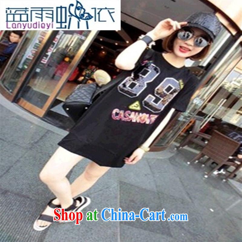 Ya-ting store 2015 new summer heavy industry, digital long T-shirt white L