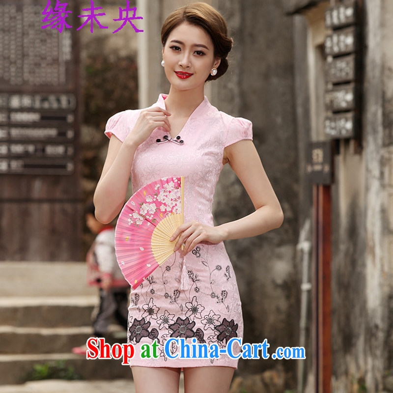 The unfinished summer 2015 new women's clothing Stylish retro short cheongsam dress C C 518 1120 pink XL