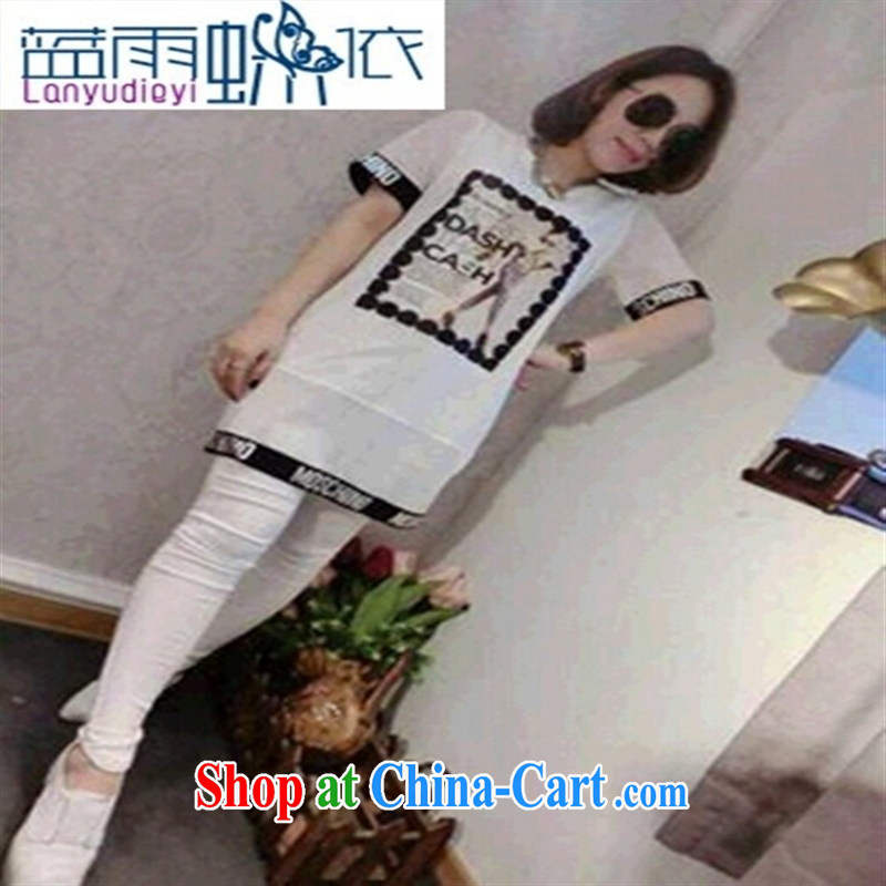 Ya-ting store 2015 new spring fashion leisure Trends Letter edge 100 ground long T-shirt white L