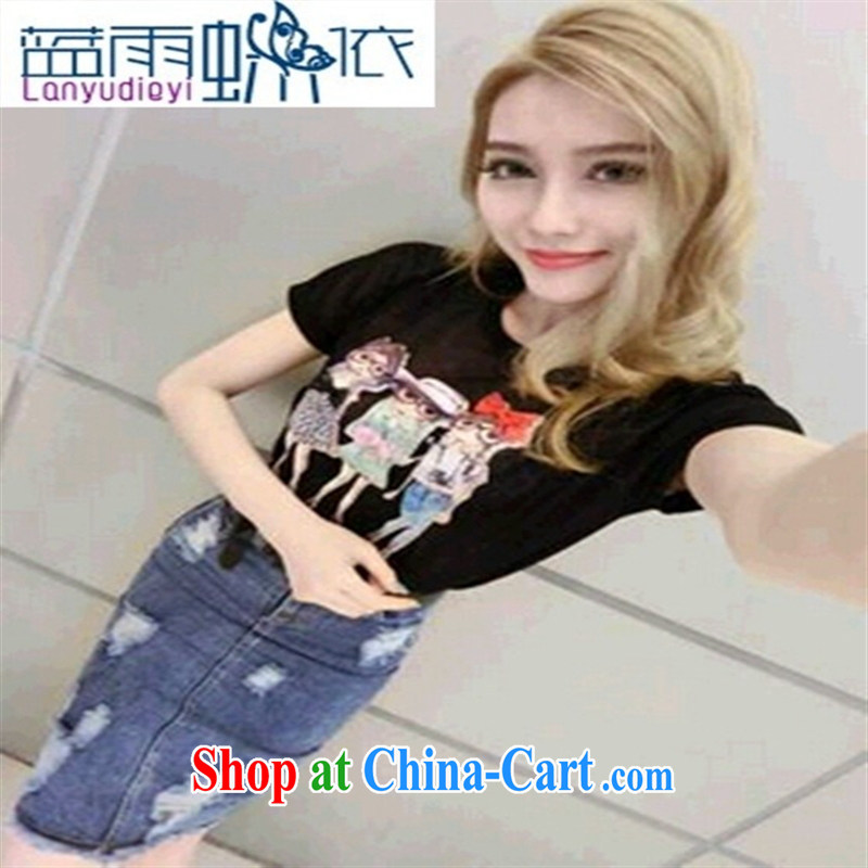 Ya-ting store 2015 new spring stylish casual simplicity and 100 ground ice Silk Knitting T-shirt black are code