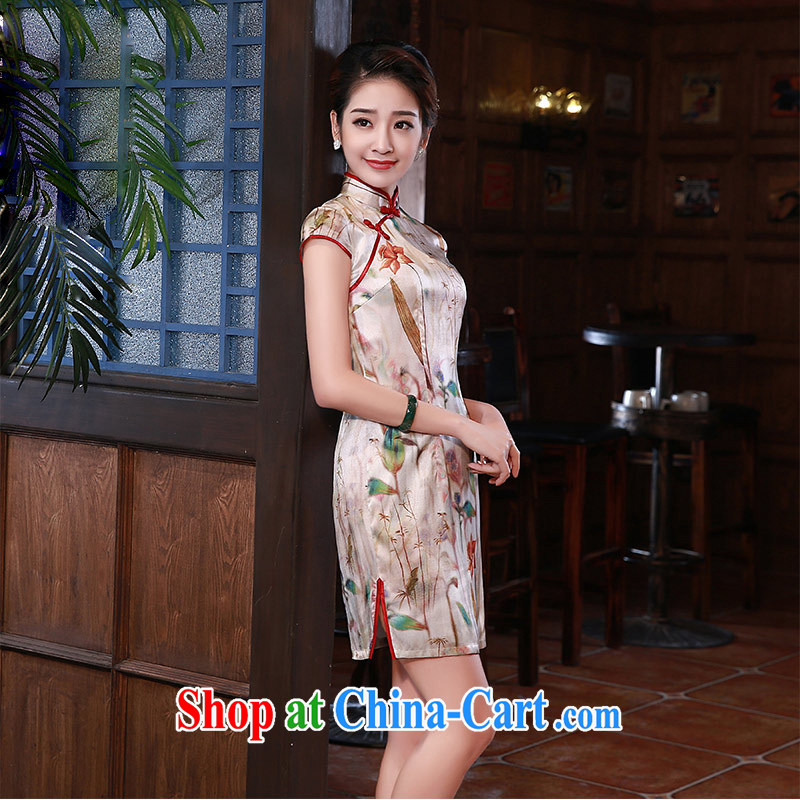 Silk Dresses 2015 summer New Daily Beauty retro improved Silk Cheongsam dress Q 1058 fancy XXL