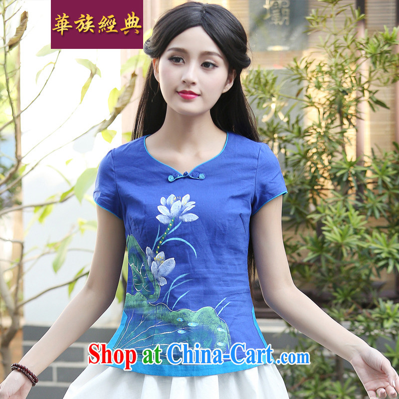 China Classic Literature and Art summer New Sum girls hand-painted beauty graphics thin cotton Ma T shirts female Chinese T-shirt_Han-blue L