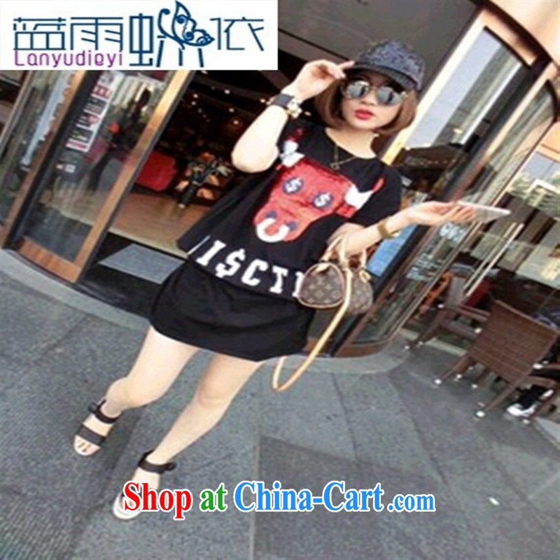 Ya-ting store 2015 new summer color, cow-head picture long T black L