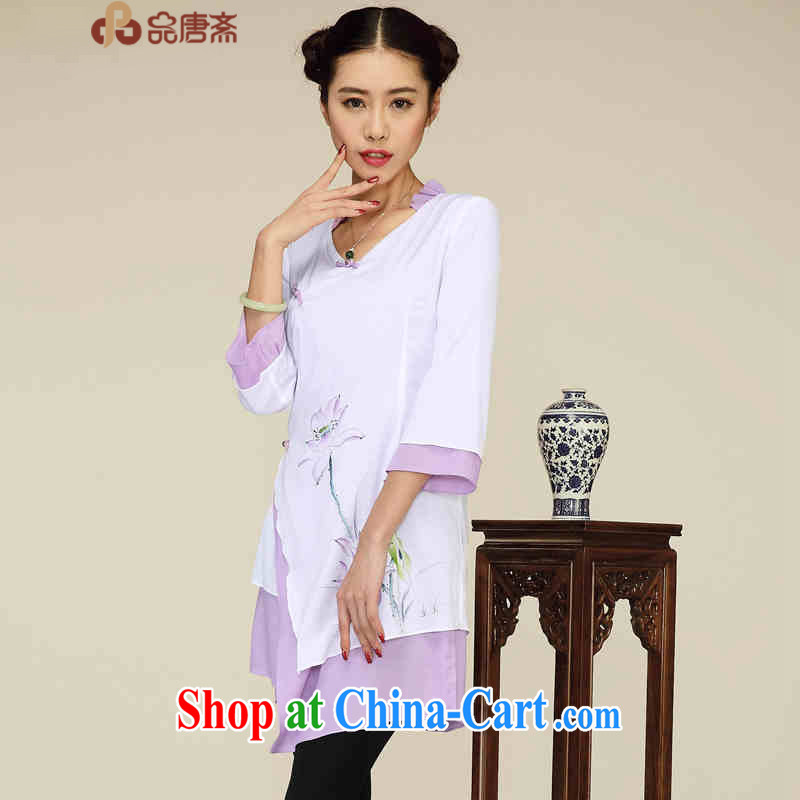 Mr Henry Tang, Id al-Fitr 2015 improved the service does not rule the long Ethnic Wind retro female Chinese T-shirt white XL