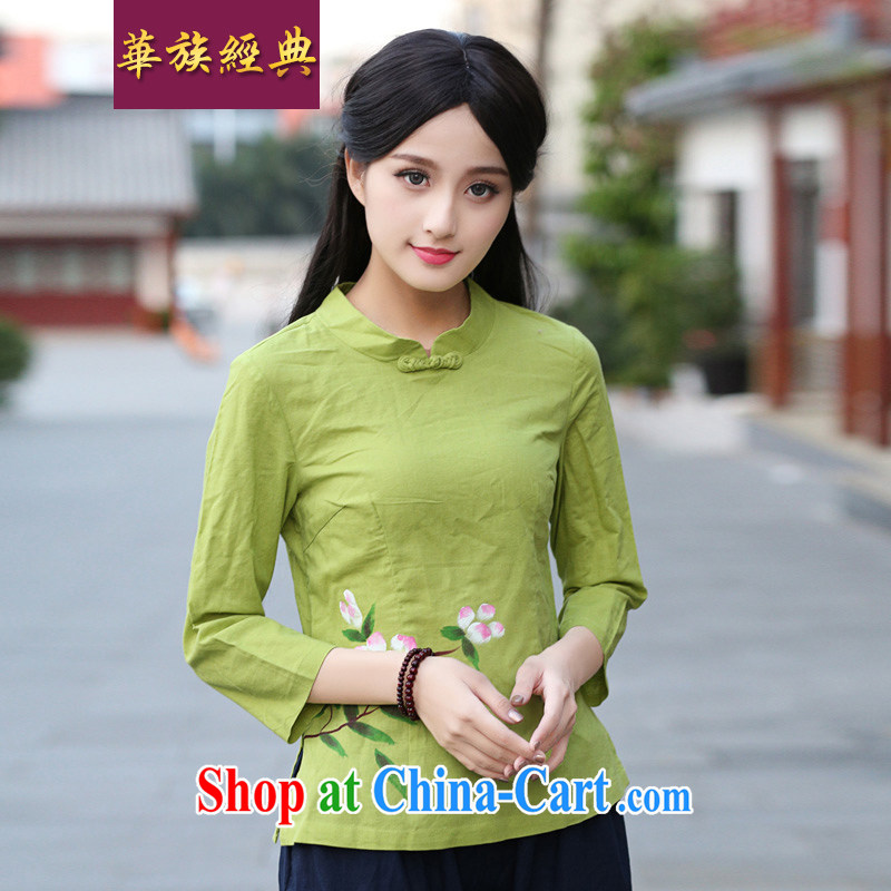 China classic 2014 original innovation, Retro fresh cotton, the T-shirt爏tylish and improved Chinese T-shirt, female Green XXL
