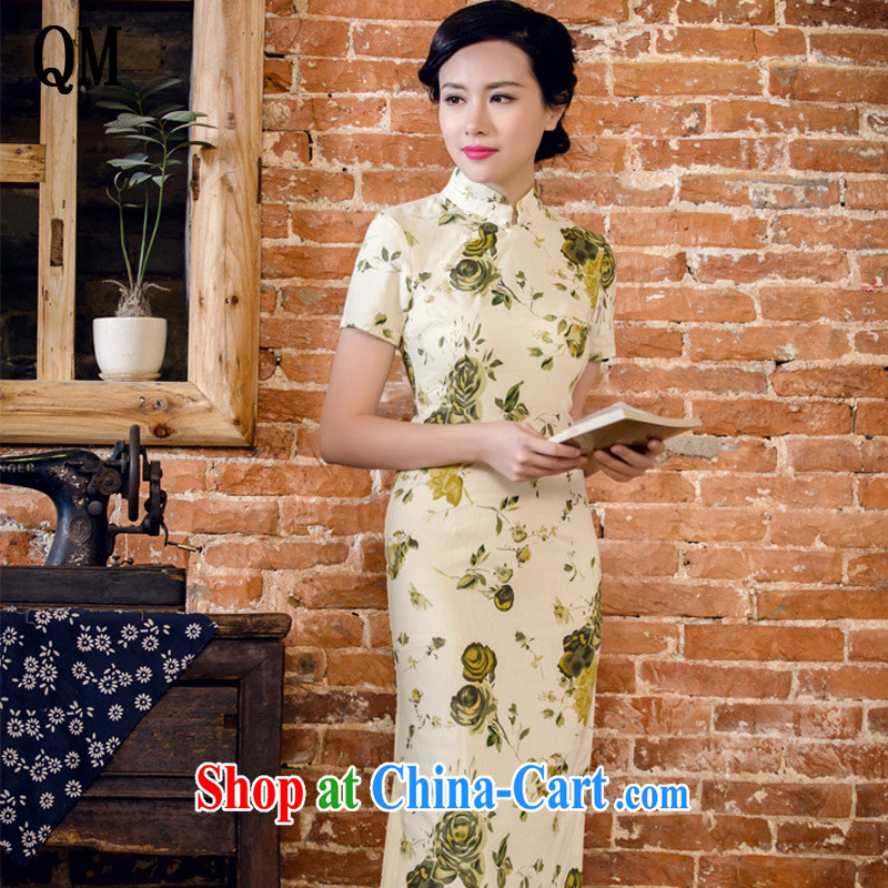 Shallow end female literary linen dresses hand-tie stylish short-sleeve long-dresses Lao JT 2063 for a night XXL
