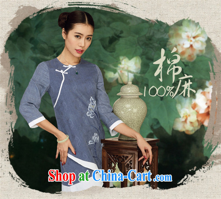 Mr Henry Tang, Ramadan 2015 Tang replace Ms. Yau Ma Tei cotton dress original improved Han-ethnic wind retro clothing Zen deep royal blue XL pictures, price, brand platters! Elections are good character, the national distribution, so why buy now enjoy more preferential! Health