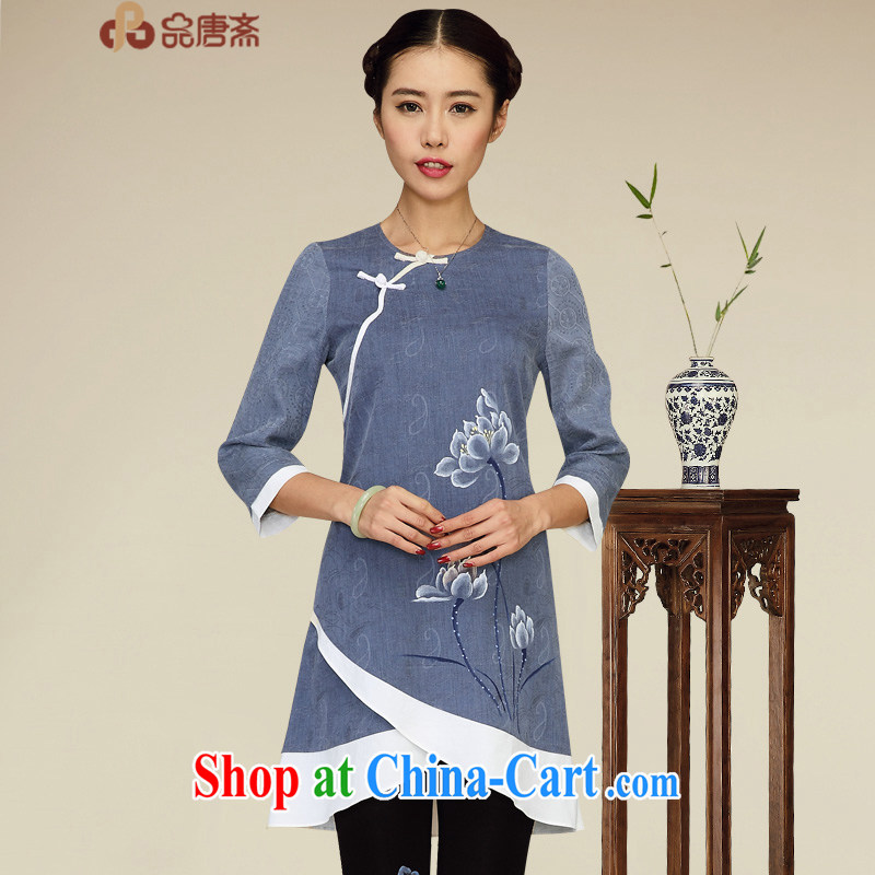 Mr Tang, Ramadan 2015 Tang replace Ms. Yau Ma Tei cotton dress original improved Han-ethnic wind retro clothing Zen deep royal blue XL