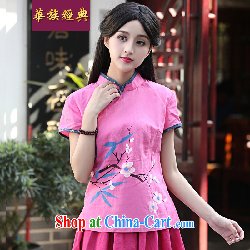 China classic original ethnic wind retro improved hand-painted Chinese T-shirt summer day literary beauty, served pink S