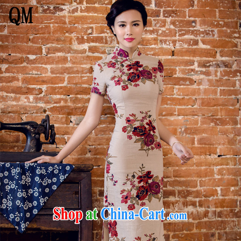 Shallow end female literary linen dresses hand-tie stylish short-sleeve long-dresses Lao JT 2063 full circle XXL