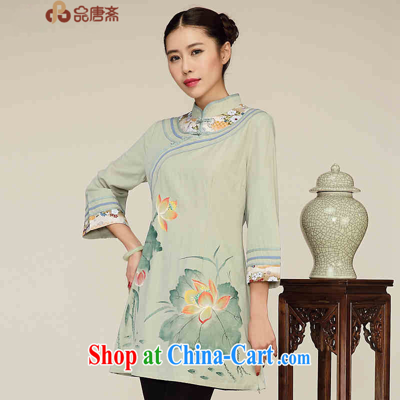 Mr Henry Tang, Id al-Fitr 2015 women's clothing retro China wind cotton Ma girls improved Han-dresses in T-shirt, long wearing yellow and green XL