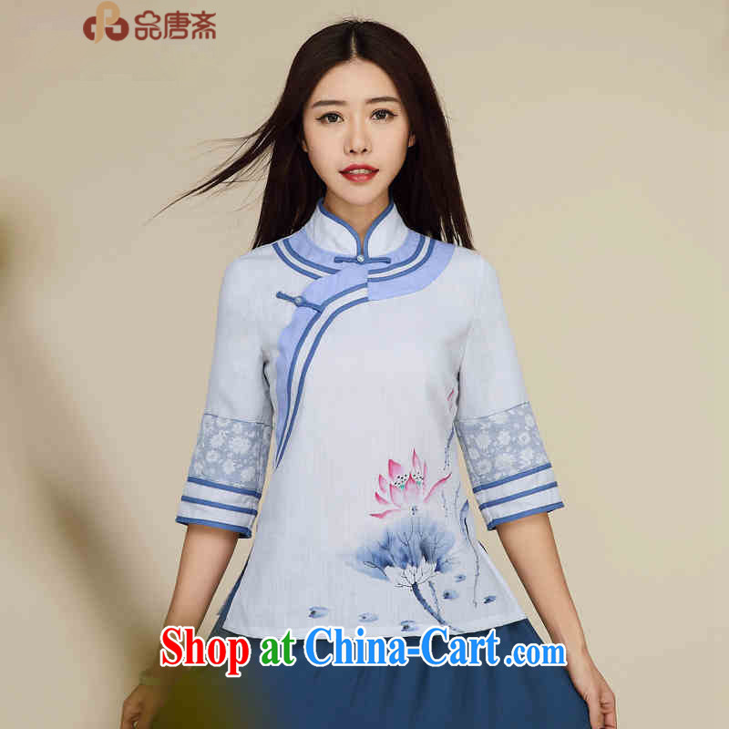 Mr Henry Tang, Id al-Fitr 2015 Han-improved national wind Cultivating Female Chinese retro T-shirt Chinese White XL
